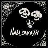 Cadre de toile d'araignée de Halloween et deux squelettes de bande dessinée Photos stock