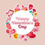 Cadre de Valentine Banner Flat Icons et de cercle Photo stock