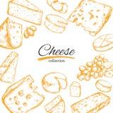 Cadre de vecteur avec différents types de fromage Illustration tirée par la main Illustration Stock