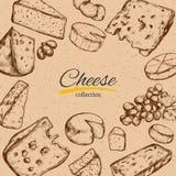 Cadre de vecteur avec différents types de fromage Illustration tirée par la main Illustration de Vecteur