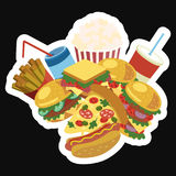 Cadre de vecteur avec les aliments de préparation rapide Nourriture stylisée de rue avec l'espace pour le texte Carte pour le caf Illustration de Vecteur