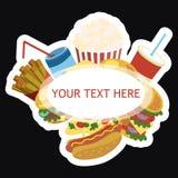 Cadre de vecteur avec les aliments de préparation rapide Nourriture stylisée de rue avec l'espace pour le texte Carte pour le caf Illustration Libre de Droits