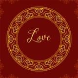 Cadre de vecteur avec les coeurs décoratifs Mandala d'or Dos de vecteur Images libres de droits