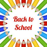 Cadre de vecteur avec les crayons colorés Carte postale de nouveau à l'école Images libres de droits