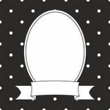 Cadre de vecteur de photo et points de polka blancs sur le fond noir Photo libre de droits