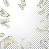 Cadre de vecteur volant de billets de banque du dollar Billets de banque de factures d'argent de bande dessinée Finances en baiss Illustration Libre de Droits