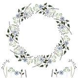Cadre de vektor de fleur des ?l?ments botaniques sensibles simples, fleurs et formes g?om?triques, pour cr?er des conceptions int illustration libre de droits