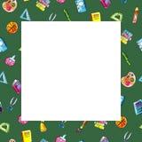 Cadre de vert de place de croquis d'illustration d'aquarelle des objets d'école illustration de vecteur
