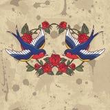 Cadre de vieille école avec des roses et des oiseaux Illustration de vecteur Images stock