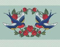 Cadre de vieille école avec des roses et des oiseaux Illustration de vecteur illustration stock