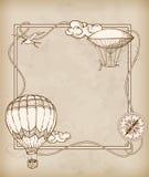 Cadre de vintage avec des ballons à air Photographie stock libre de droits