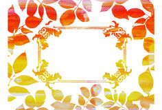 Cadre de vintage d'aquarelle dans des feuilles d'automne Photo stock