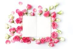 Cadre des roses sur le fond blanc Configuration plate Vue supérieure Image libre de droits