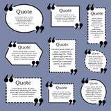 Cadre des textes de citation Vecteur Ensemble de cadres noirs et blancs sur le bleu illustration stock