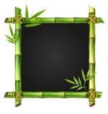 Cadre en bambou d'herbe avec des feuilles sur le blanc Photographie stock libre de droits