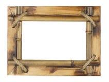 Cadre en bambou de photo d'isolement sur le fond blanc Photo stock