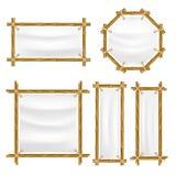 Cadre en bambou de vecteur avec l'ensemble de toile Photo libre de droits