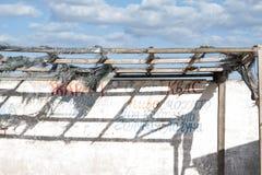 Cadre en bois avec des morceaux de tissu déchiré et le mur en béton avec le graffiti sur un marché abandonné, Ukraine Image libre de droits