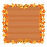 Cadre en bois avec le vecteur de feuilles d'automne Photographie stock libre de droits