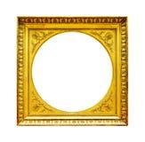 Cadre en bois d'or d'isolement sur le blanc Photo libre de droits