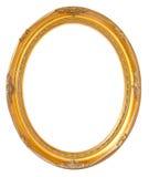 Cadre en bois de bronze ovale de photo d'isolement sur le fond blanc Photo libre de droits