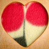 Cadre en bois de forme de coeur Photos libres de droits