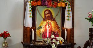 Cadre en bois de mur de maison de décoration de Jesus Christ image libre de droits