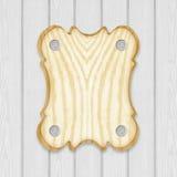 Cadre en bois de panneau de signe sur le fond en bois de planches Images stock