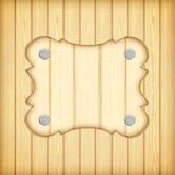 Cadre en bois de panneau de signe sur le fond en bois de planches Photo libre de droits