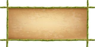 Cadre en bois des bâtons en bambou verts avec la toile de vintage illustration stock