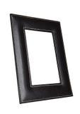Cadre en cuir carré de photo d'art d'isolement sur le blanc Photographie stock libre de droits