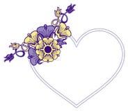Cadre en forme de coeur avec les fleurs décoratives Image libre de droits