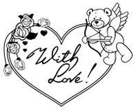 Cadre en forme de coeur avec les roses d'ensemble et l'ours de nounours avec l'arc Photo libre de droits