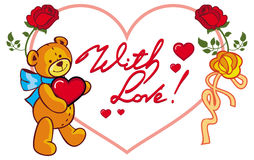 Cadre en forme de coeur avec les roses et l'ours de nounours tenant le coeur o Photos stock