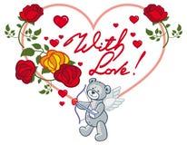 Cadre en forme de coeur avec les roses rouges et l'ours de nounours Agrafe AR de trame Image stock