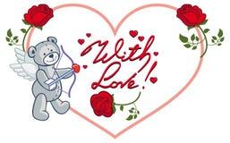Cadre en forme de coeur avec les roses rouges et l'ours de nounours Agrafe AR de trame Images libres de droits