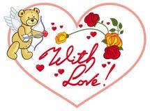 Cadre en forme de coeur avec les roses rouges et l'ours de nounours o Image libre de droits