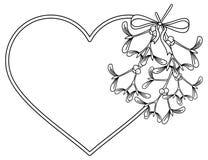 Cadre en forme de coeur et gui Photo stock