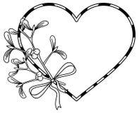 Cadre en forme de coeur et gui Photo libre de droits