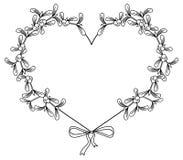 Cadre en forme de coeur et gui Copiez l'espace Images stock