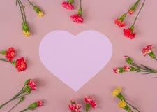 Cadre en forme de coeur de fleurs d'oeillet photo libre de droits