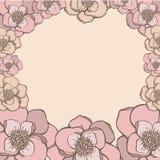 Cadre en pastel de fleurs de rose de style de dessin de main Illustration de Vecteur