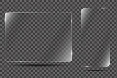 Cadre en verre de vecteur sur le fond transparent Photo stock