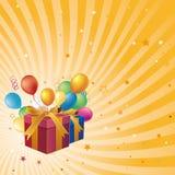 cadre et ballon de cadeau Images stock