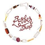 Cadre et lettrage de Barber Shop Accessories On Circle Photographie stock
