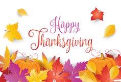 Cadre et potiron heureux de feuilles d'automne de thanksgiving illustration libre de droits