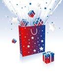 Cadre et sac de cadeau Photo stock