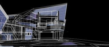 Cadre extérieur de fil de perspective du concept de construction de façade d'architecture 3d rendant le fond noir photo stock