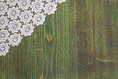 Cadre fait main de fond de dentelle originale blanche de crochet Photographie stock