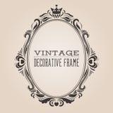 Cadre fleuri de frontière de vintage ovale, victorian et conception décorative de style baroque royal Photos libres de droits